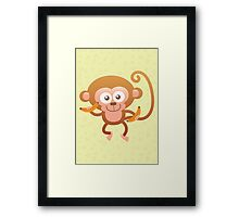 Smiling Baby Monkey with Bananas Framed Print