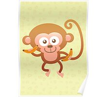 Smiling Baby Monkey with Bananas Poster
