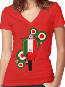 Italian decal scooter on roundals Women's Fitted V-Neck T-Shirt