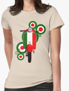 Italian decal scooter on roundals Womens Fitted T-Shirt