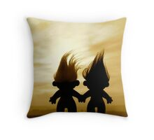troll lovers in sepia Throw Pillow