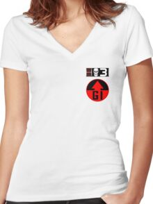 Bagman BioChip and GI Badge Women's Fitted V-Neck T-Shirt