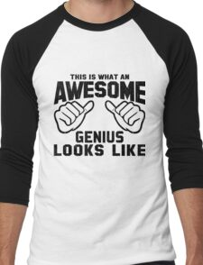 This is What an AWESOME GENIUS Looks Like Retro Men's Baseball ¾ T-Shirt