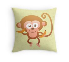 Smiling Baby Monkey with Bananas Throw Pillow