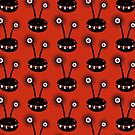 Red Funny Halftone Alien Pattern by Boriana Giormova
