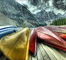 "Canoes""  Moraine Lake Alberta by imagen"