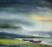 Monsoon Village River & Fishing Boats by SamirArt