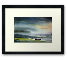 Monsoon Village River & Fishing Boats Framed Print