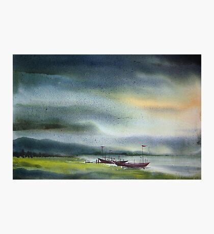 Monsoon Village River & Fishing Boats Photographic Print