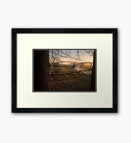 Misty morning views towards Pendle Hill Framed Print