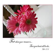 Pink Gerbera daisies with religious quote by PhotoCrazy6