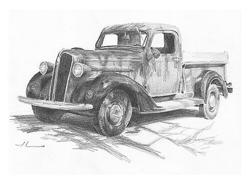Classic truck pencil drawing by Mike Theuer