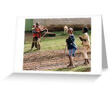 Boys playing Greeting Card