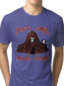 GRIM REAPER AND SIDE KICK/ BABY SITTER FOR HIRE Tri-blend T-Shirt