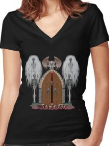 GOTHIC'S HANGOUT Women's Fitted V-Neck T-Shirt