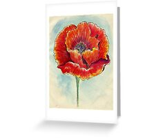 Poppy Flower Watercolor Greeting Card