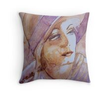 Greta, watercolor on yupo paper Throw Pillow
