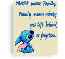 Lilo & Stitch - Ohana Family Quote (2) Canvas Print