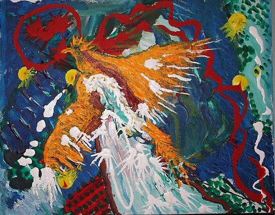 Phoenix Rising  acrylic on canvas   8x10 by eoconnor