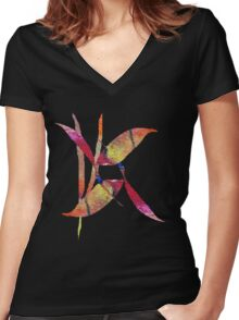 Leaf Collage Two Women's Fitted V-Neck T-Shirt