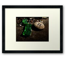 Green Glass Button Framed Print