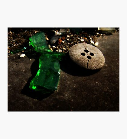 Green Glass Button Photographic Print