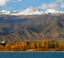 Kyrgyzstan ntns and lake Issyk Kul in autumn by Speedy