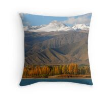 Kyrgyzstan ntns and lake Issyk Kul in autumn Throw Pillow