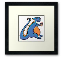 Dino reading Framed Print