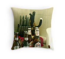 Beer and Knives Throw Pillow