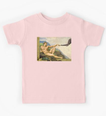 The Original Creation Of Adam With Elephant Kids Tee