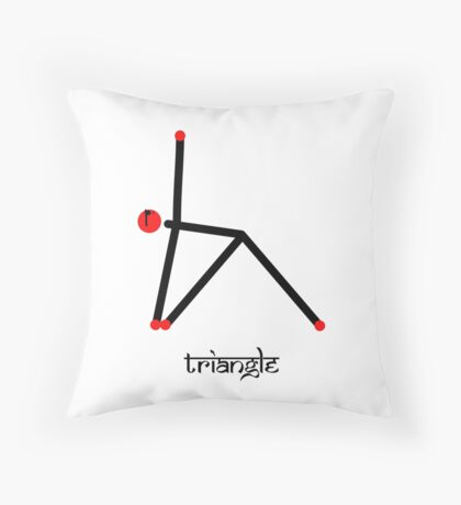 Stick figure of triangle yoga pose with Sanskrit Throw Pillow