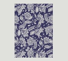 Decorative Floral Doodle Pattern in Navy Womens Fitted T-Shirt