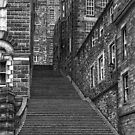 Drawing of Edinburgh street in pen & ink by Michael Johnston