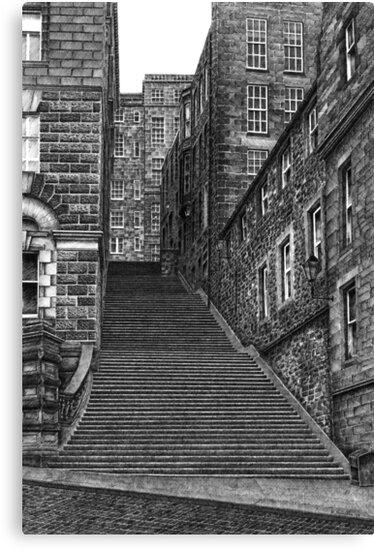Drawing of Edinburgh street in pen & ink by Michael Johnston