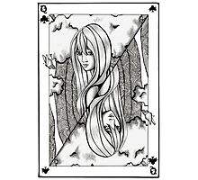 Queen of Clubs Photographic Print