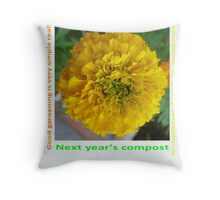 marigold, next years compost Throw Pillow
