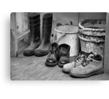 Buckets and Boots Canvas Print