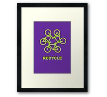 Recycle Message And Bicycle Emblem Framed Print
