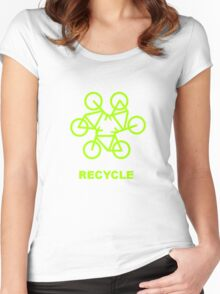 Recycle Message And Bicycle Emblem Women's Fitted Scoop T-Shirt
