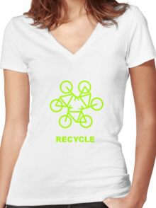 Recycle Message And Bicycle Emblem Women's Fitted V-Neck T-Shirt