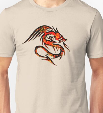 Fire Dragon, Tattoo Style, Fantasy Unisex T-Shirt