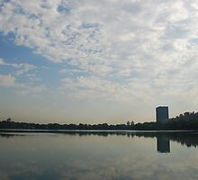 View of New York across Central Park lake by Emma-Rose Fitzpatrick