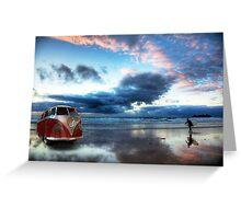 Sunset Surfer VW Camper Van Greeting Card