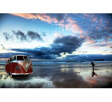Sunset Surfer VW Camper Van Photographic Print