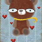 Vintage old teddy bear hearts in love by Ruth Fitta-Schulz