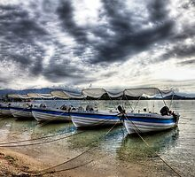Lefkas Harbour Boats by Paul Thompson Photography
