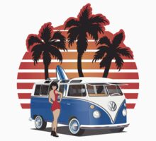 VW Split Window Bus w Girl & Palmes by Frank Schuster