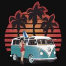 VW Split Window Bus Teal w Girl & Palmes by Frank Schuster