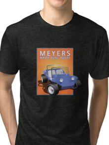 Dune Buggy Blue Manx Orange Box Tri-blend T-Shirt